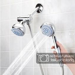 1 New High Pressure 5 Setting Dual Handheld Shower Head With