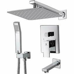 "10""Chrome Rainfall Shower Combo Set Bathtub Spout Shower Sys"