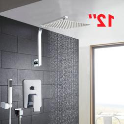 "12"" Bathroom Chrome Rainfall Head Shower Set Faucet Mixer Ta"