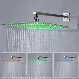 "8""10""12""16""Brushed Nickel LED Shower Head Square High Pressu"