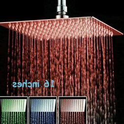 12 Inch Brushed Nickel LED Rainfall Shower Head Square Ultra