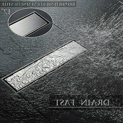 SR SUN RISE 12-Inch Linear Shower Floor Drain with Strainers