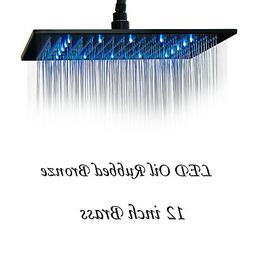 "12""Oil Rubbed Bronze LED Rain Shower Head Square Large Overh"