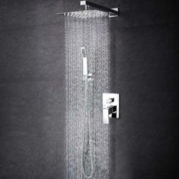 SR Sun Rise 12''Shower Faucet System Brushed Nickel Brass Bo