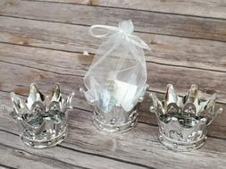12 Silver Shower Crown Favors Prince Princess Party Baptism