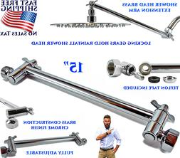 "15"" ULTRA LONG LOCKING SHOWER HEAD EXTENSION ARM FULLY ADJUS"
