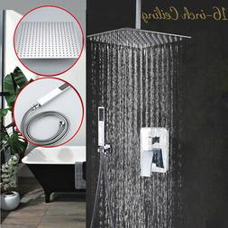 16'' Chrome Rain Mixer Shower Combo Set Ceiling Shower Head