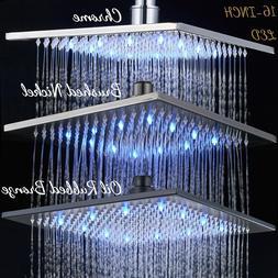 16-inch LED Rain Shower Shower Head Rotatable Heads Bathroom