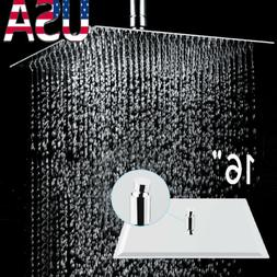 16 square stainless steel rain shower head
