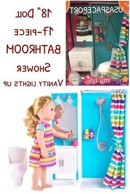 18-in Doll BATHROOM SHOWER Set LIGHT-UP VANITY for My Life a