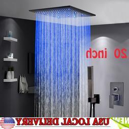 "20""Oil Rubbed Bronze LED Shower Faucet Bathroom Rainfall Sho"