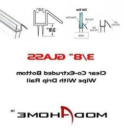 "3/8"" Frameless Shower Door Sweep Bottom Seal Wipe Drip Rail"