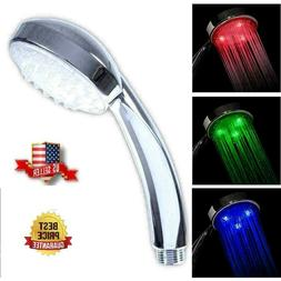 3 Color LED Auto Changing Fixed Shower Head Temperature Sens