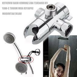 Bathroom Shower Head Diverter Sprayer Arm Mount 3-Way Valve