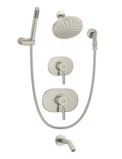 Symmons 4306-Stn Sereno Tub/Shower System, Nickel/Satin Nick
