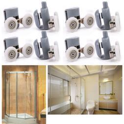 4x Twin Bottom Top Zinc Alloy Shower Door Rollers Runners Wh