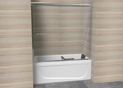 "57X60"" Bathroom Sliding Shower Door Tempered Clear Glass 2x"