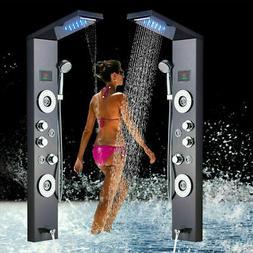 Brushed Nickel Shower Panel Tower LED Rain Waterfall w/Massa