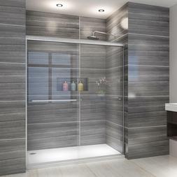 """ELEGANT 60"""" Semi-Frameless 1/4"""" Glass 2 Sliding Shower Bath"""