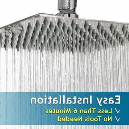 "8"" Bathroom Rain Sprayer Stainless Steel Square Chrome Bath"