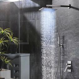 """8""""Brushed Nickel LED Rain Shower Combo Set Luxury Shower Sys"""