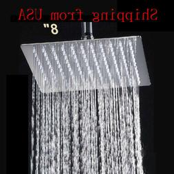 8'' Inch Chrome Square Rain Shower Head Ultra Thin with 304