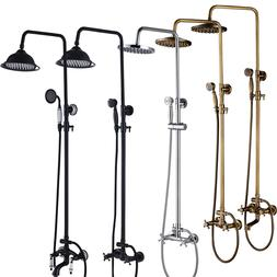 8 rain shower head faucet set wall