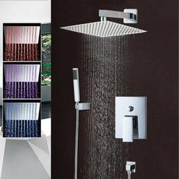 """8"""" Rainfall LED Shower Faucet Set with Hand Spray Mixer Tap"""