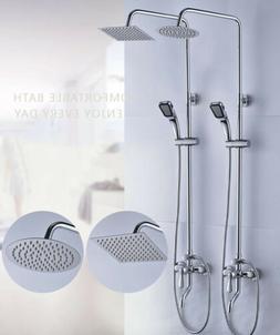 8Inch  Rainfall Wall Mount Shower Faucet Set Hand Shower Tub
