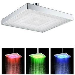 8inch Square LED Light Temp Change 7 Color Shower Head Bathr