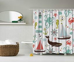 Ambesonne Fabric Shower Curtain, Whale Shark Seahorse Sea Cr