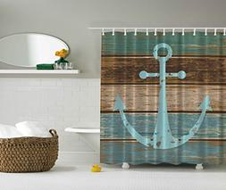 Ambesonne Nautical Anchor Rustic Wood - Shower Curtain - Wat