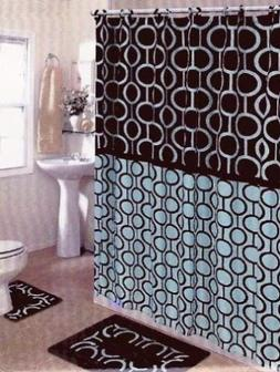 Brown & Blue 15-piece Bathroom Set Bath Rugs Shower Curtain
