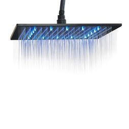 Rozin LED Light 16-inch Rainfall Shower Head Bathroom Square