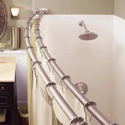 Adjustable Double Curved Shower Curtain Rod Crescent Bathtub