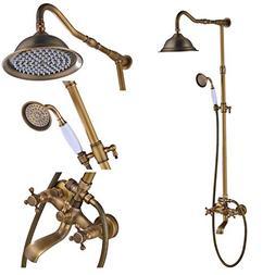 Rozin Antique Brass Bathroom Shower Faucet Set 8 Inch Shower