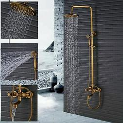 Luxury Exposed Antique Brass Rain Shower Faucet Set Bathroom
