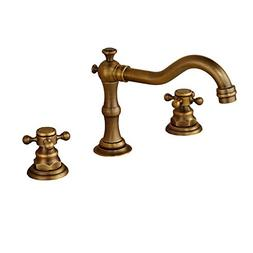 Rozin Antique Brass Widespread 3 Holes Bathroom Sink Faucet