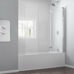 "DreamLine AquaFold 56 to 60""W x 58"" H Hinged Tub Door, Chrom"