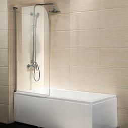 "55""X31"" Bath Shower Door 1/4"" Clear Glass Pivot Radius Frame"