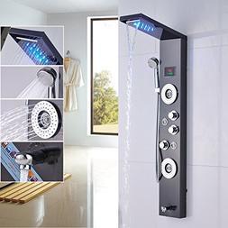 Rozin Bath Shower Panel Set LED Rainfall Waterfall Shower He