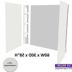 Bath Tub Shower Wall Surround 5 Piece White Glue-Up Wall Kit