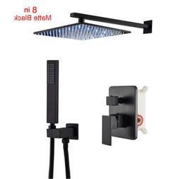 Bathroom 2-way Mixer Shower Faucet Set 12-inch LED Light Rai