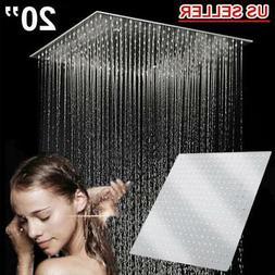 "Bathroom 20"" Rain Shower Head Stainless Steel Square Top Cei"
