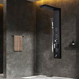 Brushed Nickel Shower Panel Tower Rainfall&Waterfall with Ma