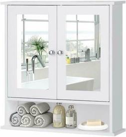 Bathroom Cabinet Wall Mount With Mirror Double Door Cupboard