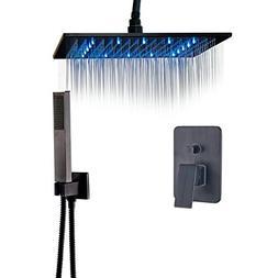 Rozin Bathroom Ceiling Mounted LED Light 16-inch Rainfall Sh
