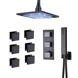 Rozin Bathroom Ceiling Mounted LED 8-inch Rainfall Shower Se