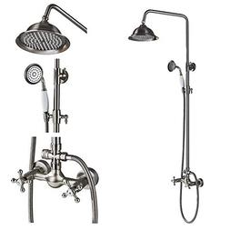 Rozin Bathroom Dual Knobs Mixer Rainfall Shower Set with Han