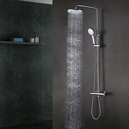 "KES Bathroom European Thermostatic Shower System 10"" Rainfal"